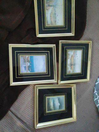 cuadros pequeños con el marco dorado