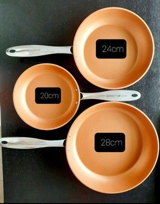 Sarten individual de cobre 20cm, 24cm, 28cm