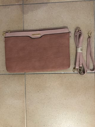 Cartera /bolso rosa palo terciopelo