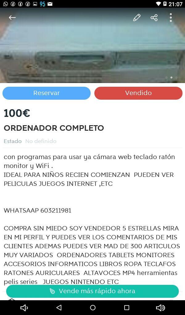 ORDENADOR ANTIGUO COMPLETO REBAJADO
