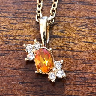 Citrine With Rhinestones Pendant Necklace