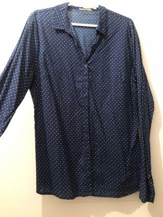 Camisa lunares azul y blanco manga larga
