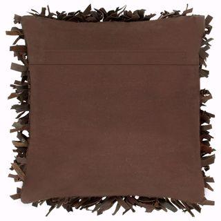 Cojín con flecos cuero y algodón marrón 60x60 cm