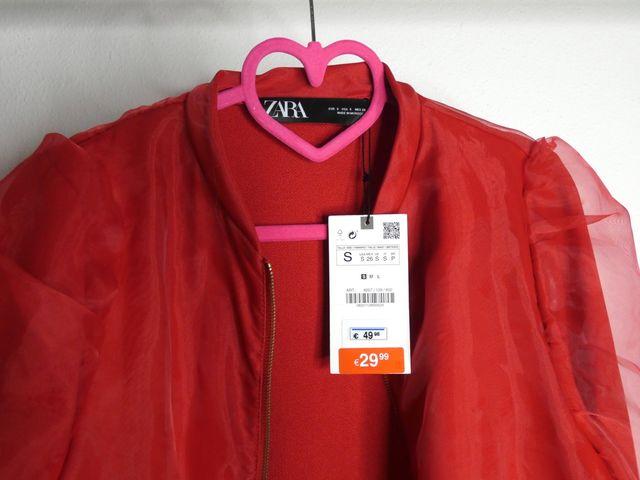 Chaqueta de Organza Mujer Roja Zara S