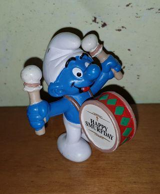 figura pvc pitufo tambor músico fiesta Schleich