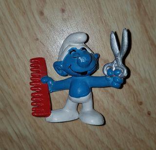 figura pvc pitufo peluquero smurfs muñeco