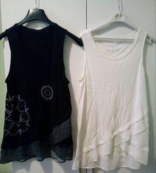 blusa o top blanca y negra DESIGUAL
