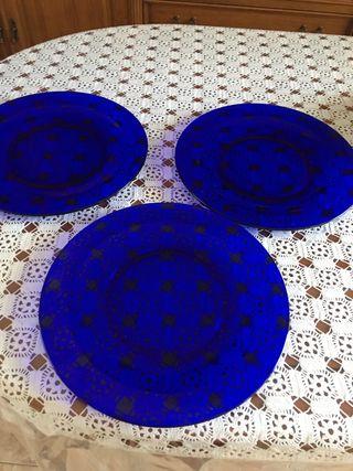 6 Platos bajos azules