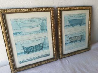Lote de 2 cuadrados láminas bañeras vintage