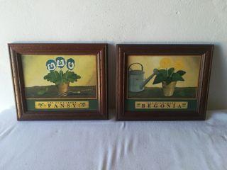Lote de 2 centros láminas de plantas