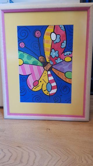Acuarela mariposa enmarcada
