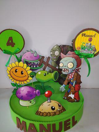 centro mesa plantas contra zombies decoracion cump