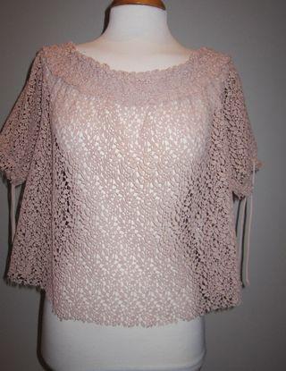 Blusa encaje nude rosa Zara talla M