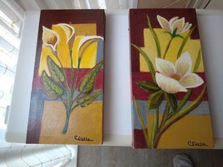 Dos cuadros pequeños pintados a mano