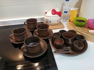 vajilla tazas y platos de barro