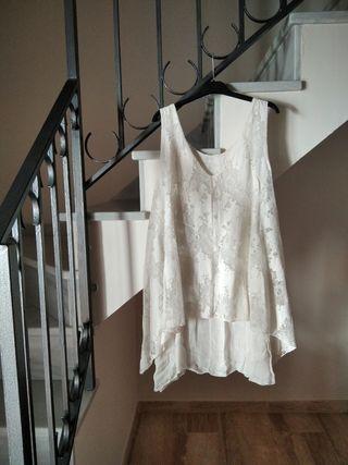 Blusa encaje crema