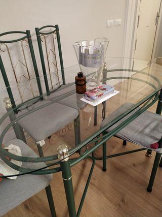 mesa cristal salon para 6 persona