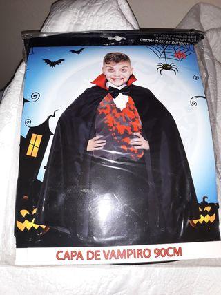 Disfraz hallowen capa vampiro niño.