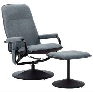 Sillón reclinable con masaje y reposapiés gris