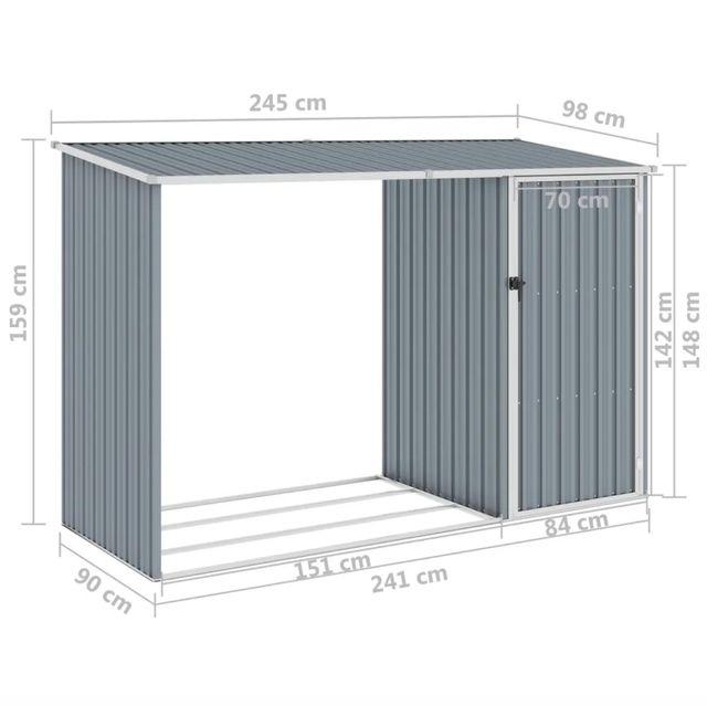 Cobertizo de jardín de leña gris acero galvanizado