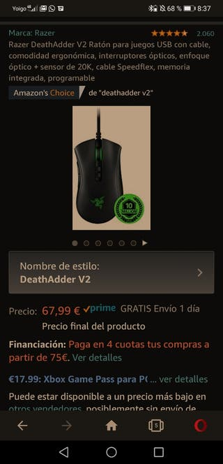 Ratón gaming tope gama Razer Deathadder V2 nuevo