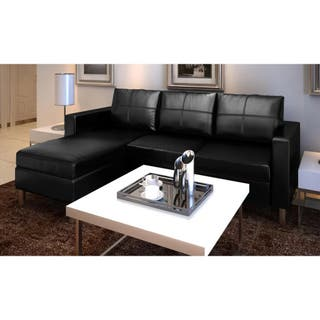 Sofá modular de 3 plazas de cuero artificial negr