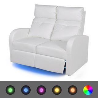 Sofá reclinable LED 2 plazas de cuero artificial