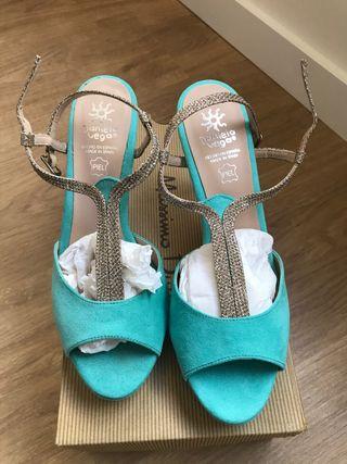 Zapatos de fiesta turquesa
