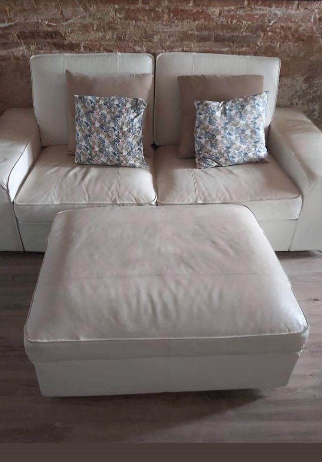 Sofá blanco de piel Ikea