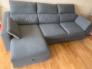 Sofá 3 plazas, + chaiselongue + baúl