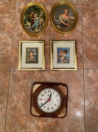Cuadros pequeños y reloj