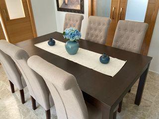 Mesa extensible bjursta comedor y seis sillas