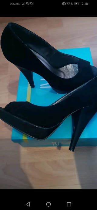 zapatos nuevos tacon alto piel negros
