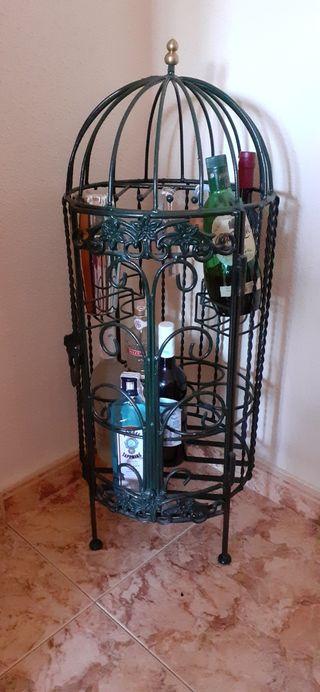Botellero forja esmaltada verde botella