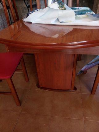 mesa de comedor de madera extensible de 6 sillas