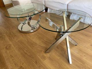 2 mesas salón cristal y metal.