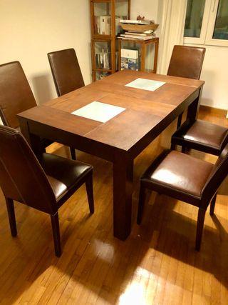 Mesa comedor extensible y 6 sillas