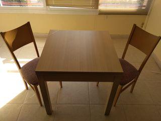 Juego de mesa de comedor extensible y 2 sillas