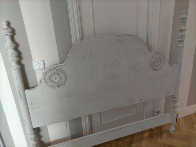 Cabecero madera decapado gris empolvado cama 150