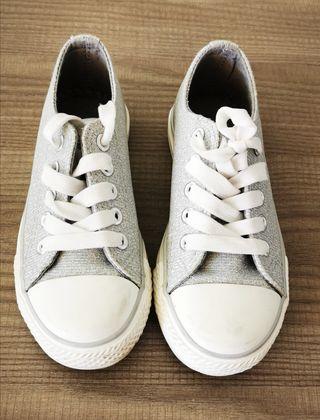 zapatillas tela brillantina niña