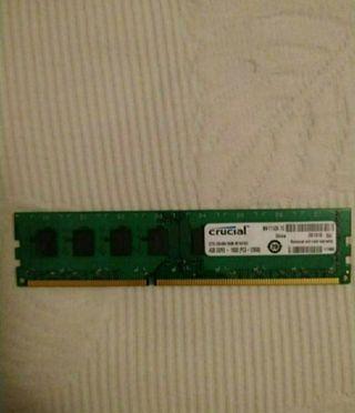 Memoria ram Crucial 4Gb DDR3 - 1600 PC3 - 12800.