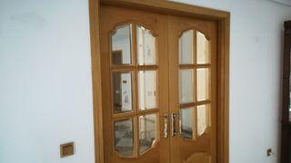 Puertas correderas madera con cristal