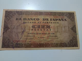 Billete 100 Pesetas 1938 Burgos serie C