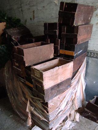Cajas de madera antiguas 45x22x alto 17cm.