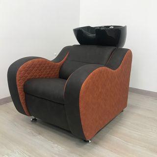 Lavacabezas Onda tapizado en marrón combinado