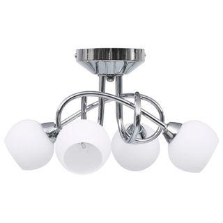 Lámpara techo pantallas cerámica redondas blanco