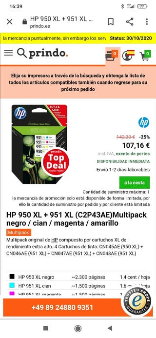 TINTA impresora HP Officejet Pro z20/