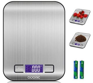 ADORIC Báscula Digital para Cocina de Acero Inoxid