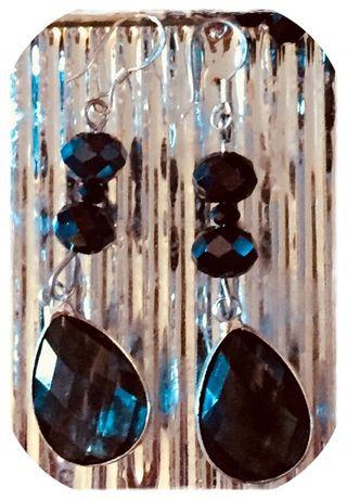 Pendientes elegantes plata negros + caja regalo