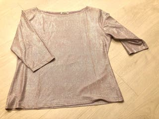 Blusa mujer manga 3/4, satinada rosa